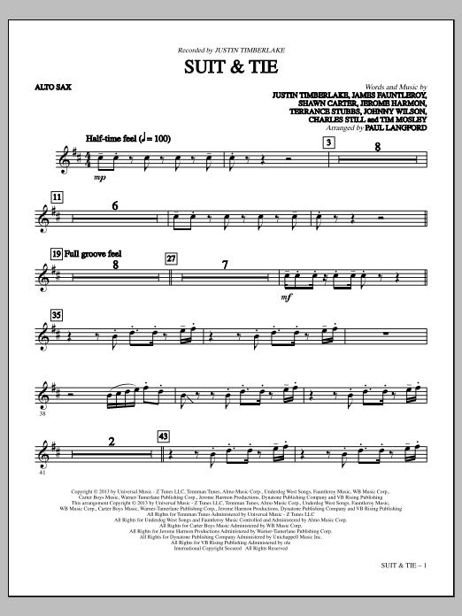 Suit & Tie - Alto Sax (Choir Instrumental Pak)