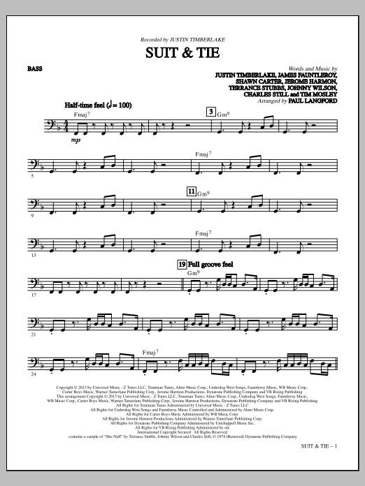 Suit & Tie - Bass (C) (Choir Instrumental Pak)