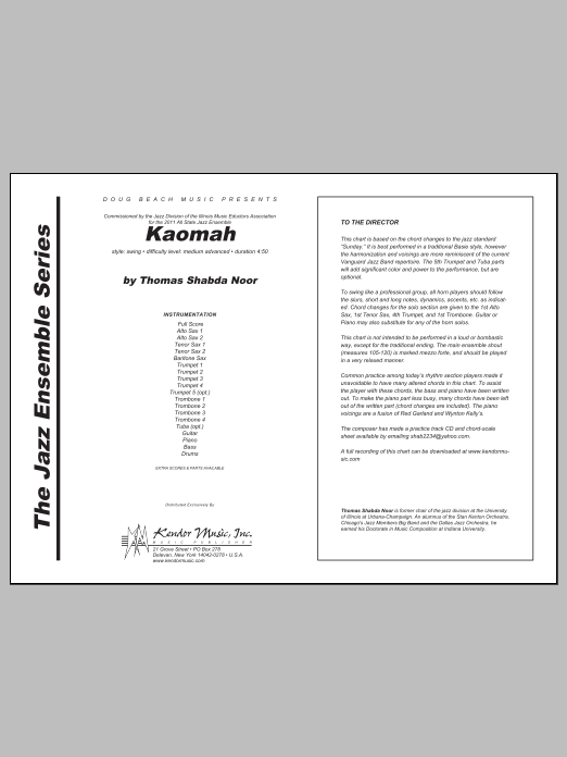 Kaomah (COMPLETE) sheet music for jazz band by Noor. Score Image Preview.