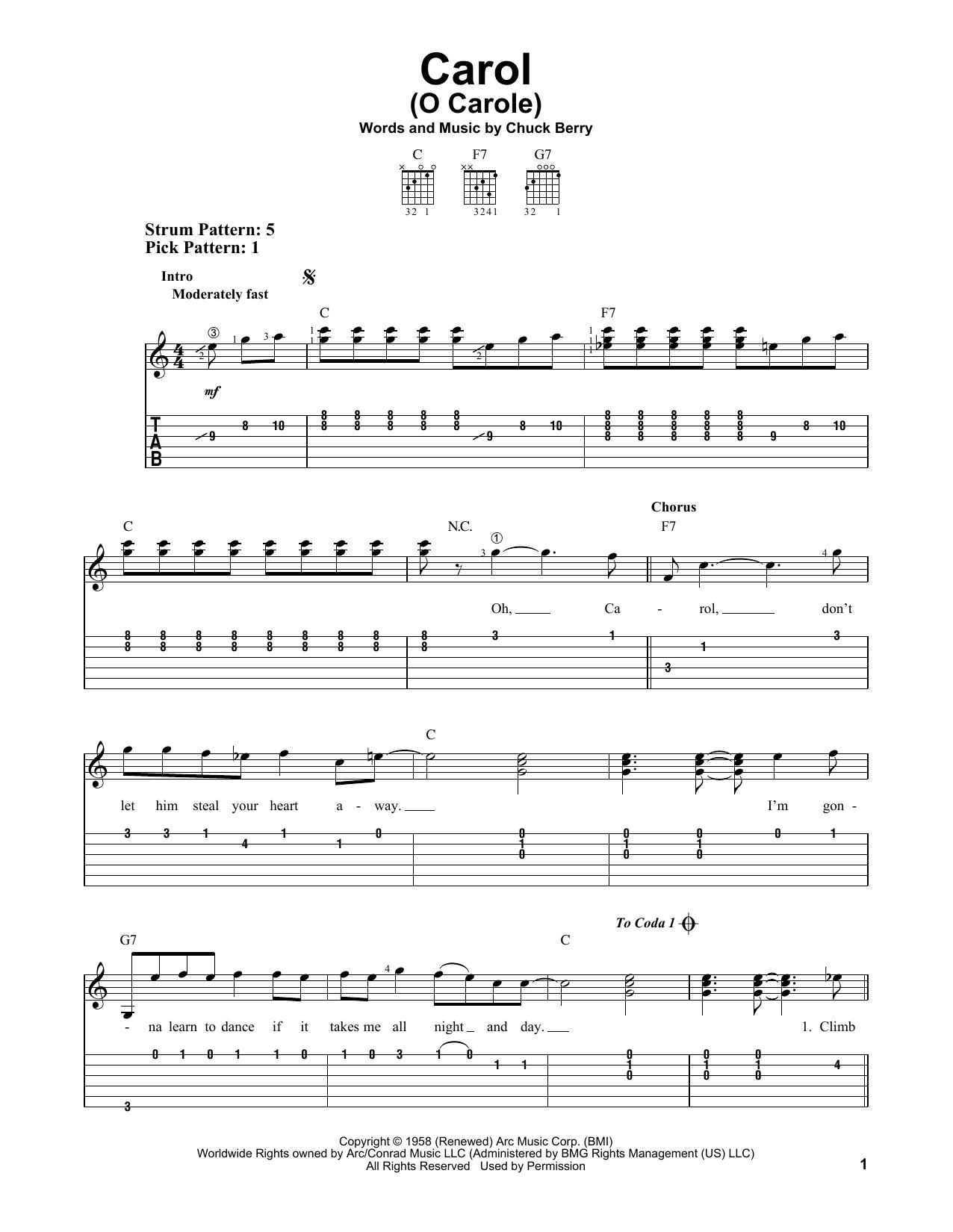 Carol (O Carole) (Easy Guitar Tab)