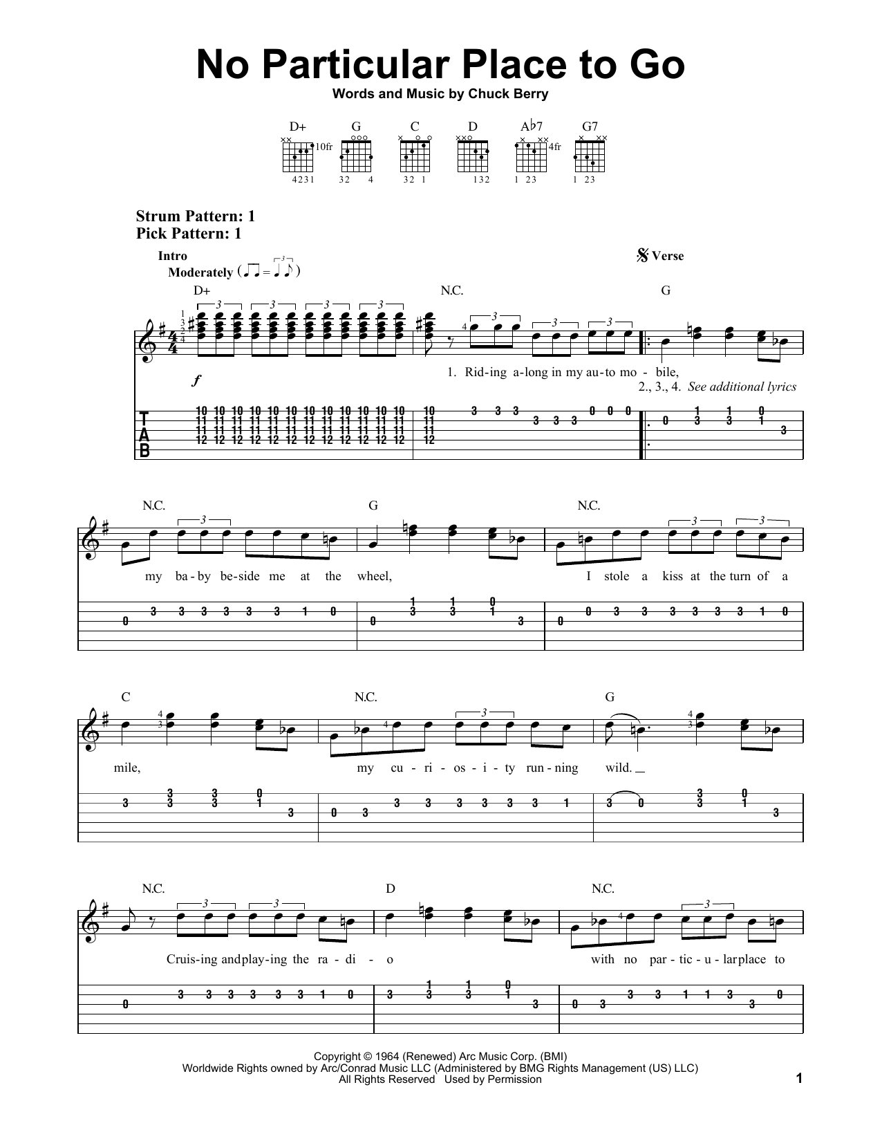 No Particular Place To Go Sheet Music