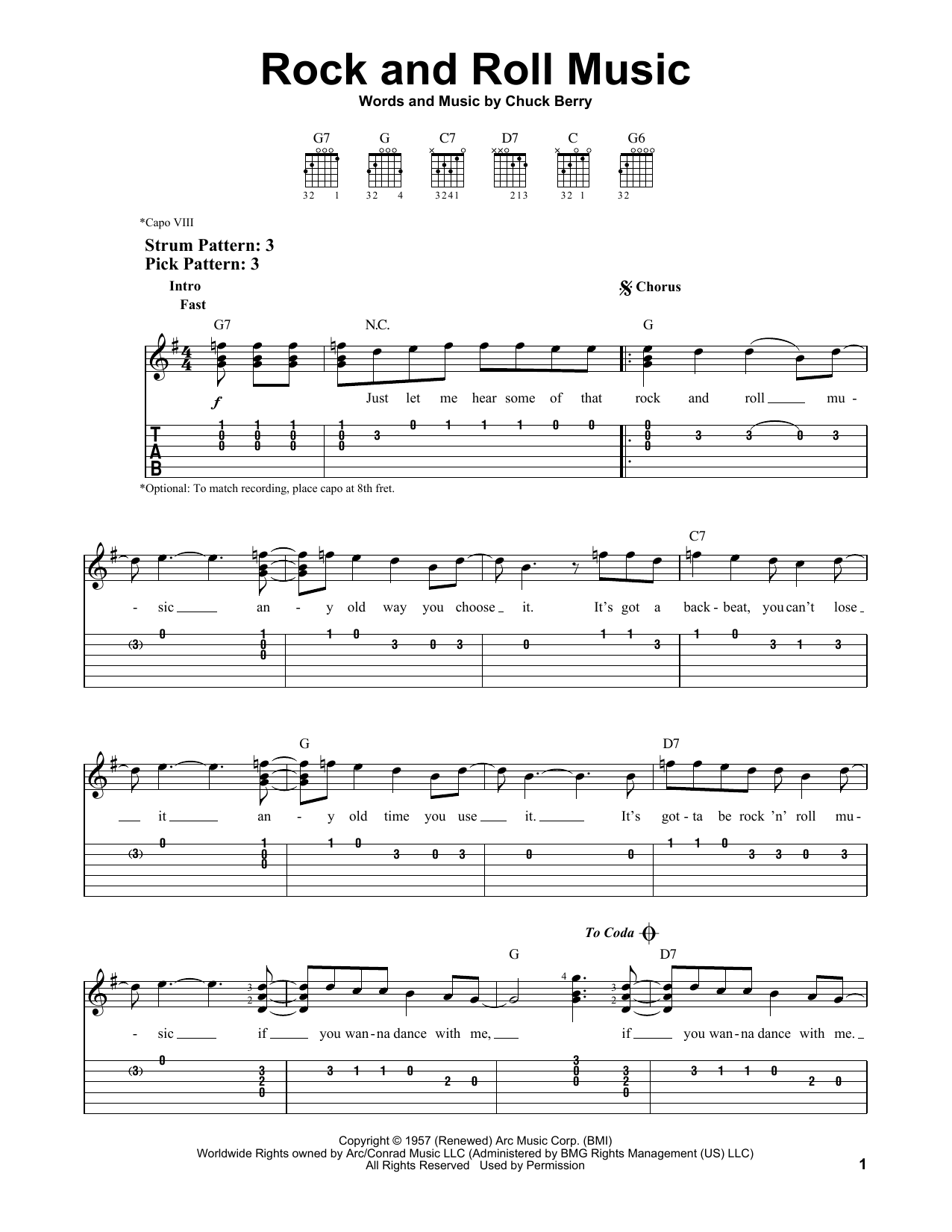 Rock And Roll Music (Easy Guitar Tab)