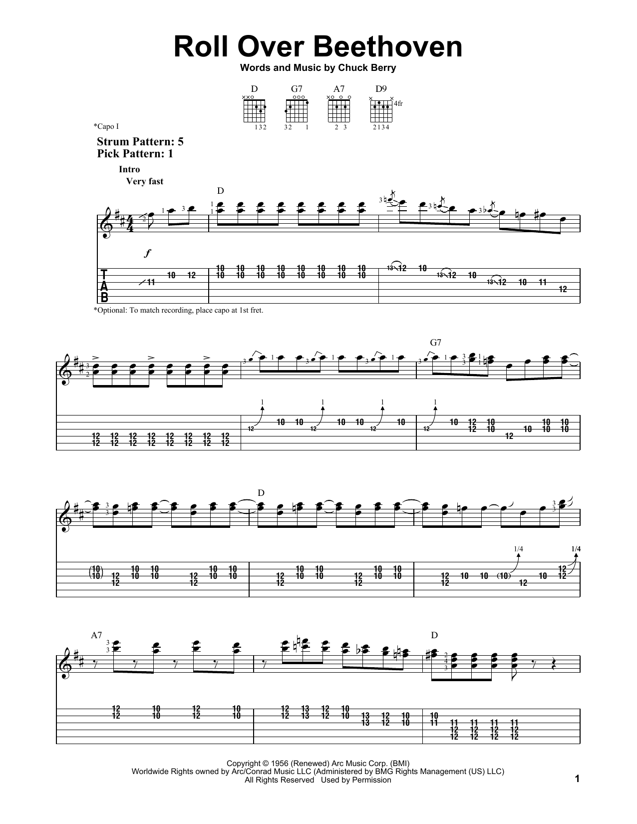 Roll Over Beethoven by Chuck Berry - Easy Guitar Tab