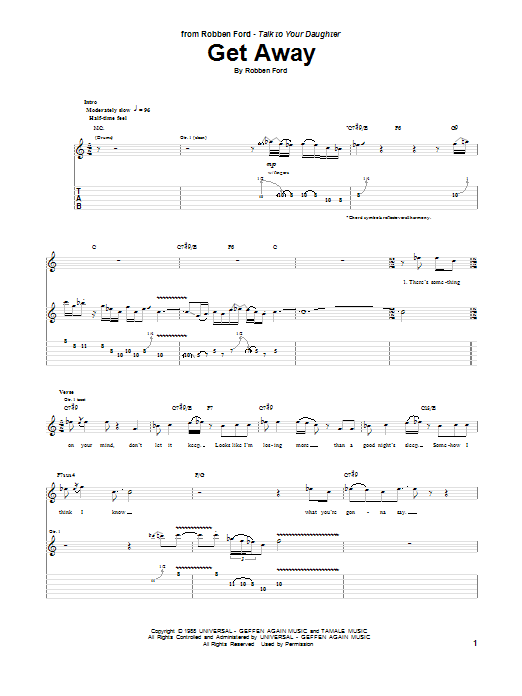 Tablature guitare Get Away de Robben Ford - Tablature Guitare