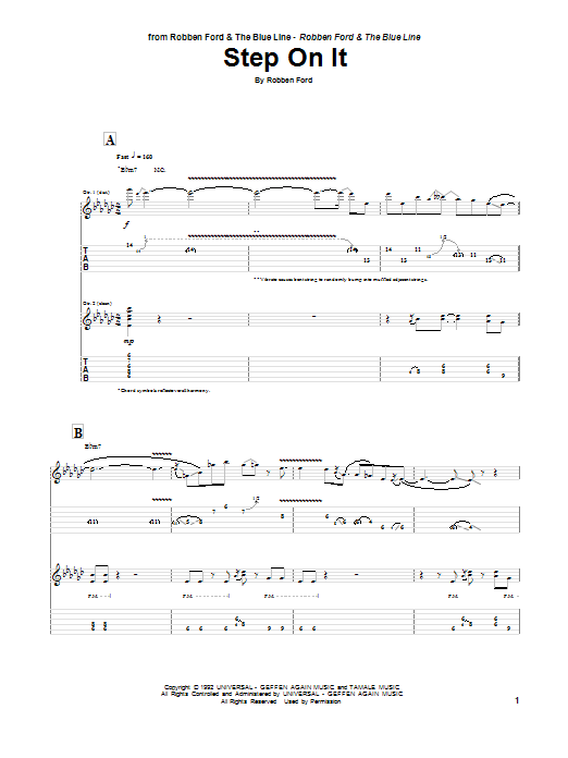 Tablature guitare Step On It de Robben Ford - Tablature Guitare