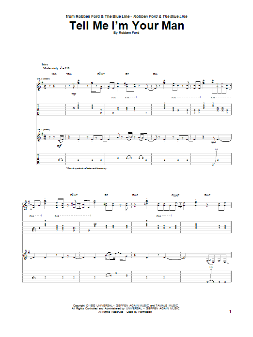 Tablature guitare Tell Me I'm Your Man de Robben Ford - Tablature Guitare