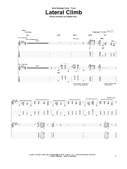 Tablature guitare Lateral Climb de Robben Ford - Tablature Guitare