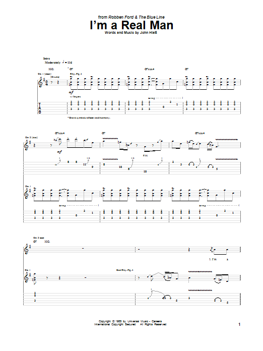 Tablature guitare I'm A Real Man de Robben Ford - Tablature Guitare