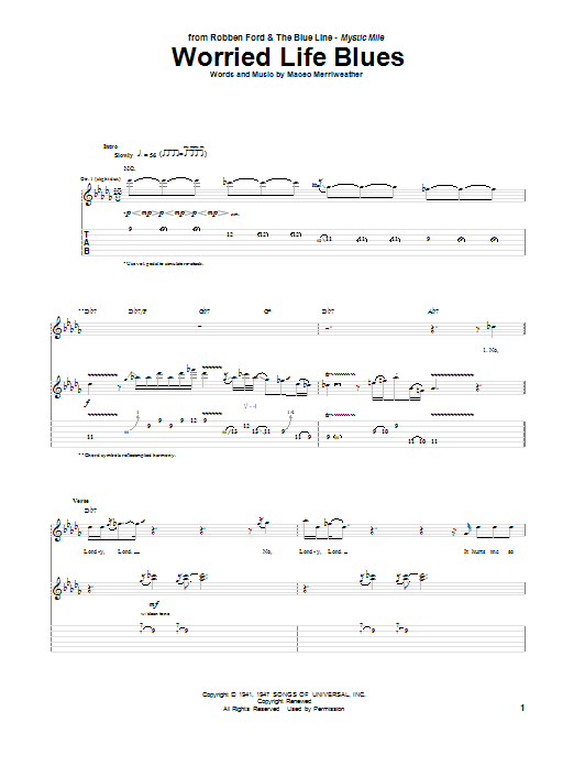 Worried Life Blues (Guitar Tab)