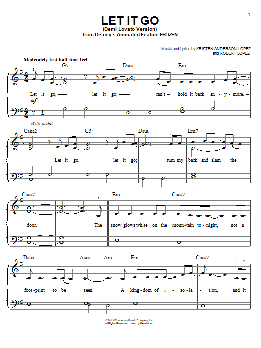 Let It Go From Frozen Demi Lovato Version Sheet Music Direct