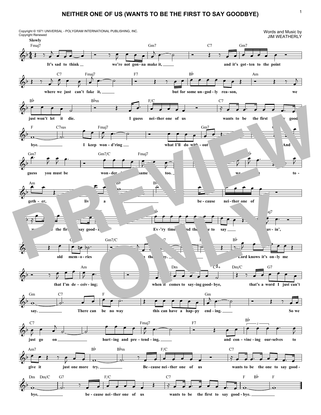 Neither One Of Us (Wants To Be The First To Say Goodbye) (Lead Sheet / Fake Book)