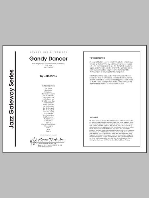 Gandy Dancer (COMPLETE) sheet music for jazz band by Jeff Jarvis. Score Image Preview.
