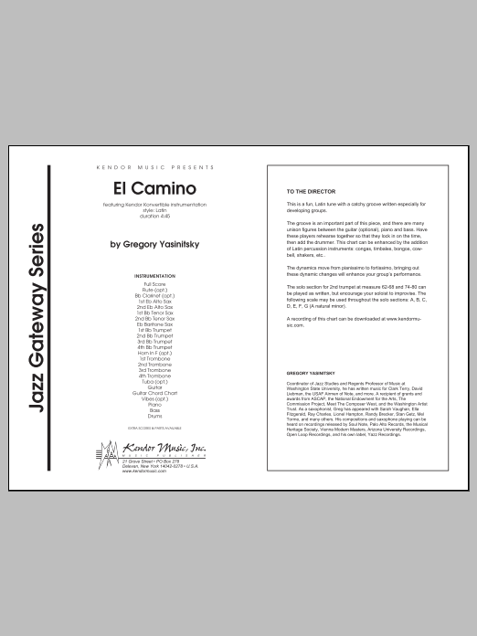 El Camino (COMPLETE) sheet music for jazz band by Gregory Yasinitsky. Score Image Preview.
