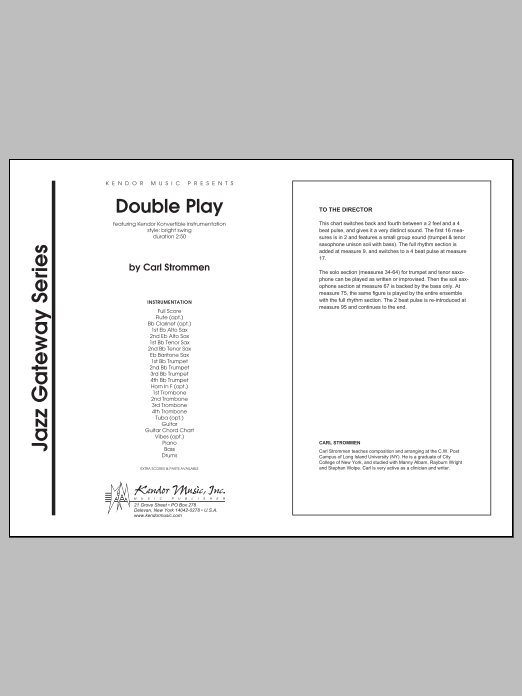 Double Play (COMPLETE) sheet music for jazz band by Carl Strommen. Score Image Preview.