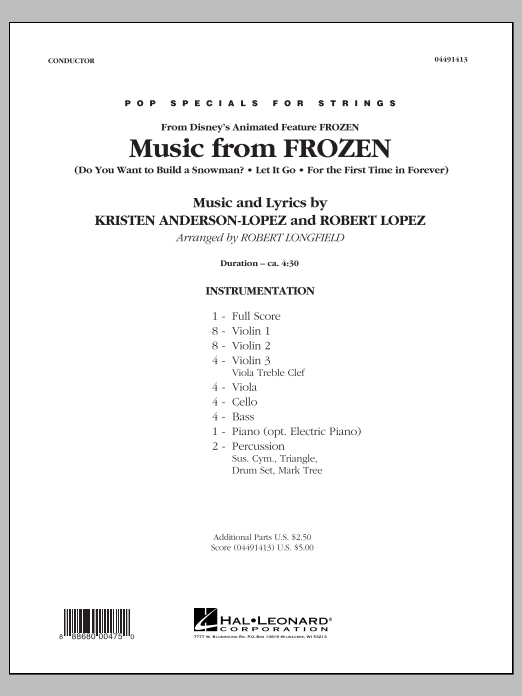 Music from Frozen (COMPLETE) sheet music for orchestra by Robert Longfield, Kristen Anderson-Lopez and Robert Lopez. Score Image Preview.