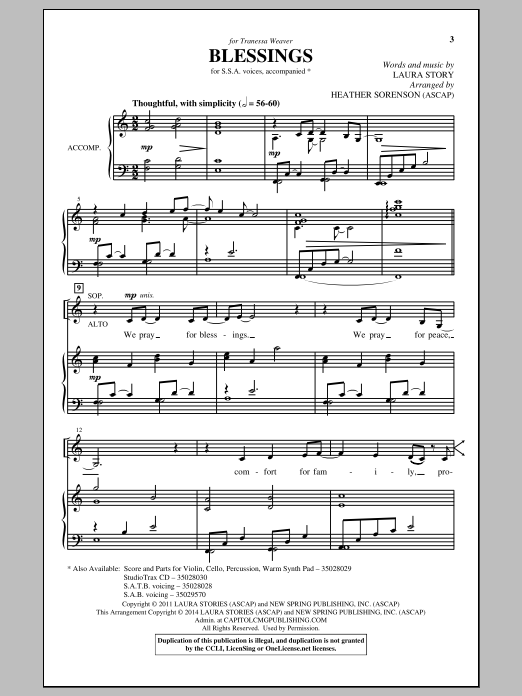 Blessings Sheet Music
