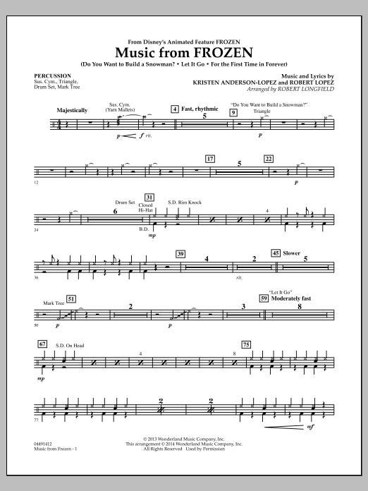 Music from Frozen - Percussion (Orchestra)