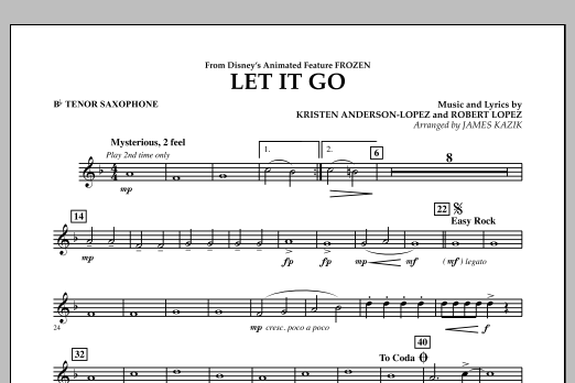 Let It Go (from Frozen) - Bb Tenor Saxophone (Concert Band)