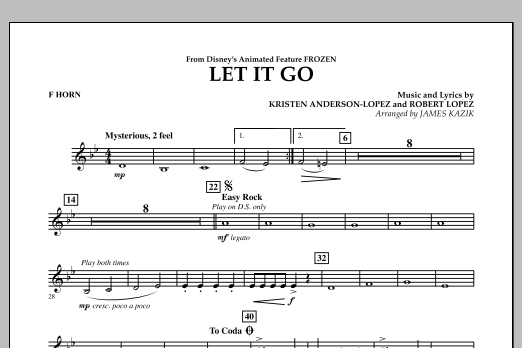 Let It Go (from Frozen) - F Horn (Concert Band)