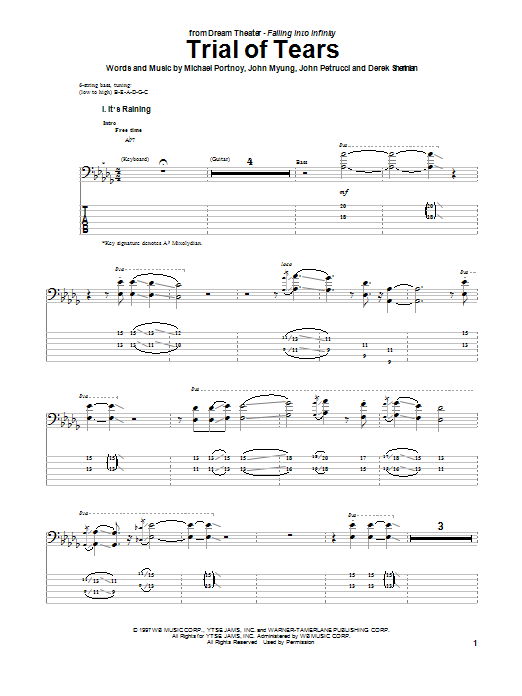 Trial Of Tears (Bass Guitar Tab)