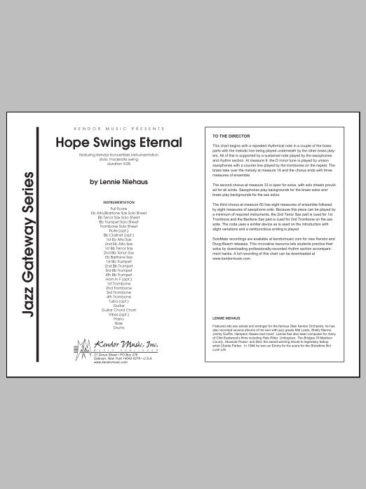 Hope Swings Eternal (COMPLETE) sheet music for jazz band by Lennie Niehaus. Score Image Preview.