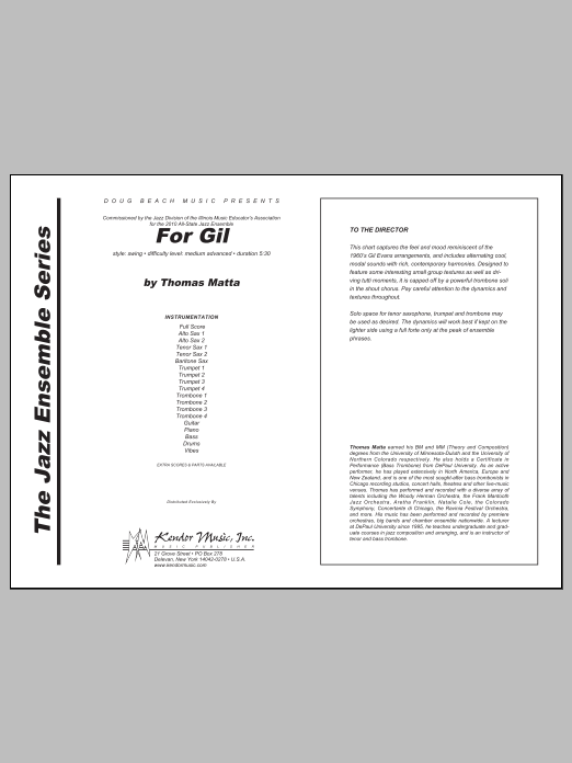For Gil (COMPLETE) sheet music for jazz band by Tom Matta. Score Image Preview.