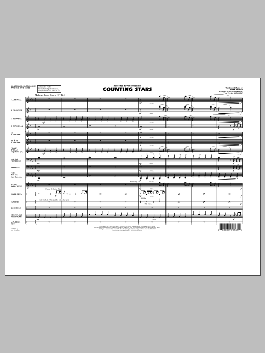 Counting Stars (COMPLETE) sheet music for marching band by Matt Conaway, OneRepublic and Ryan Tedder. Score Image Preview.