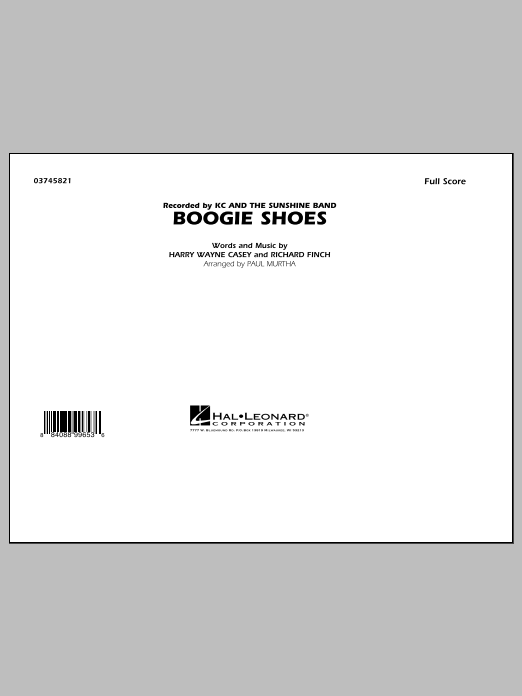 Boogie Shoes (COMPLETE) sheet music for marching band by Paul Murtha, Bee Gees, Harry Wayne Casey and Richard Finch. Score Image Preview.