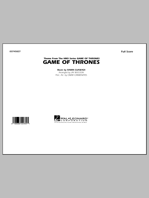 Game of Thrones (COMPLETE) sheet music for marching band by Ramin Djawadi and Jay Bocook. Score Image Preview.