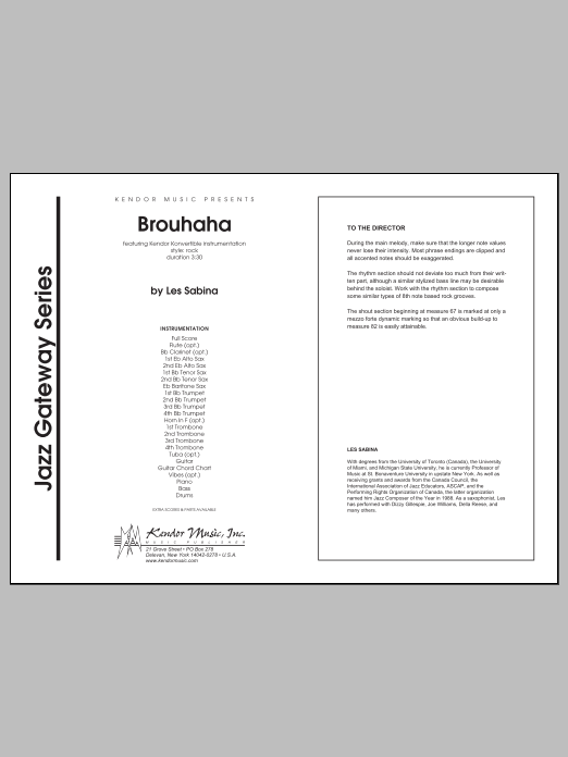 Brouhaha (COMPLETE) sheet music for jazz band by Les Sabina. Score Image Preview.