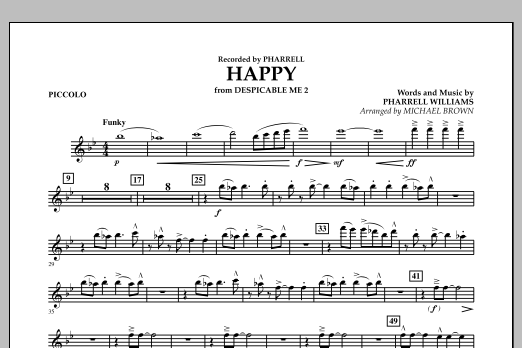 Happy (from Despicable Me 2) (arr. Michael Brown) - Piccolo (Concert Band)