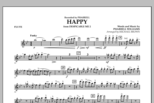 Happy (from Despicable Me 2) (arr. Michael Brown) - Flute (Concert Band)