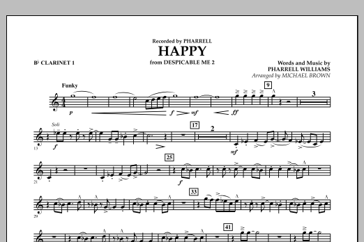 Happy (from Despicable Me 2) (arr. Michael Brown) - Bb Clarinet 1 (Concert Band)