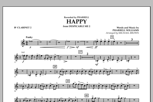 Happy (from Despicable Me 2) (arr. Michael Brown) - Bb Clarinet 2 (Concert Band)