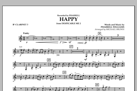 Happy (from Despicable Me 2) (arr. Michael Brown) - Bb Clarinet 3 (Concert Band)