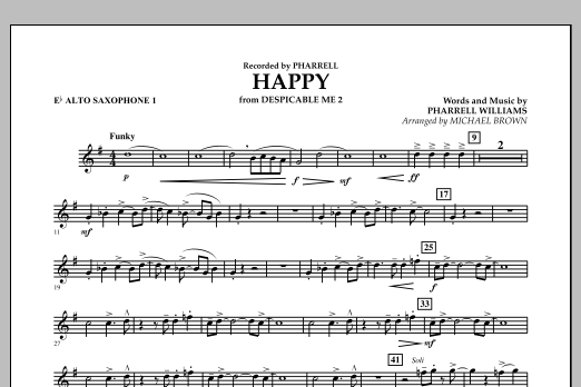 Happy (from Despicable Me 2) (arr. Michael Brown) - Eb Alto Saxophone 1 (Concert Band)