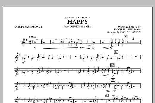 Happy (from Despicable Me 2) (arr. Michael Brown) - Eb Alto Saxophone 2 (Concert Band)