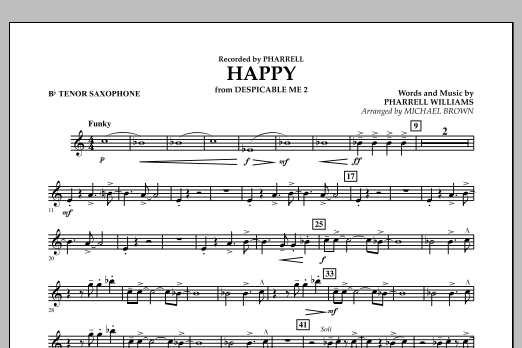 Happy (from Despicable Me 2) (arr. Michael Brown) - Bb Tenor Saxophone (Concert Band)