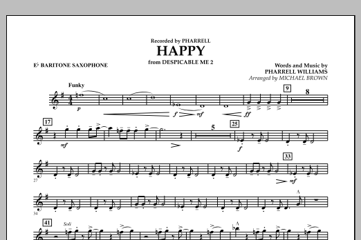 Happy (from Despicable Me 2) (arr. Michael Brown) - Eb Baritone Saxophone (Concert Band)
