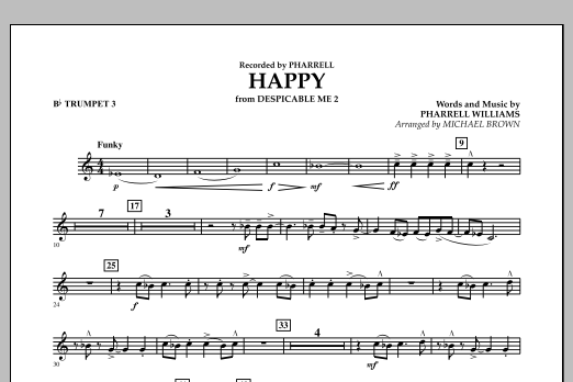 Happy (from Despicable Me 2) (arr. Michael Brown) - Bb Trumpet 3 (Concert Band)