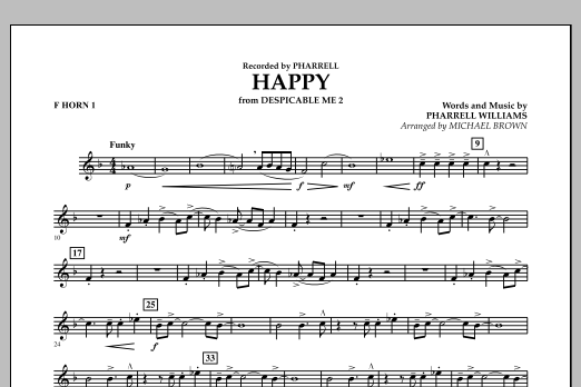 Happy (from Despicable Me 2) (arr. Michael Brown) - F Horn 1 (Concert Band)