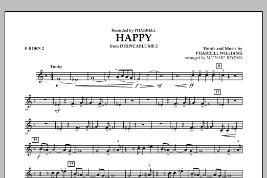 Happy (from Despicable Me 2) (arr. Michael Brown) - F Horn 2 (Concert Band)