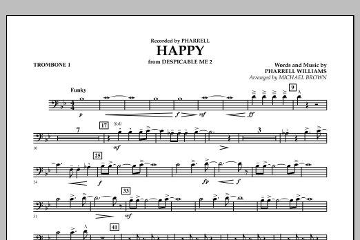Happy (from Despicable Me 2) (arr. Michael Brown) - Trombone 1 (Concert Band)