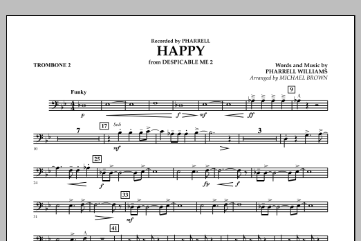 Happy (from Despicable Me 2) (arr. Michael Brown) - Trombone 2 (Concert Band)