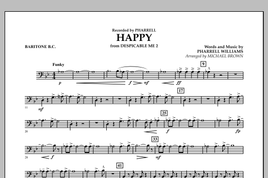 Happy (from Despicable Me 2) (arr. Michael Brown) - Baritone B.C. (Concert Band)