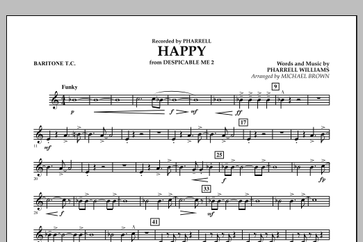 Happy (from Despicable Me 2) (arr. Michael Brown) - Baritone T.C. (Concert Band)