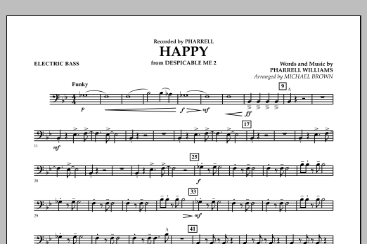 Happy (from Despicable Me 2) (arr. Michael Brown) - Electric Bass (Concert Band)