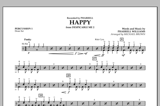 Happy (from Despicable Me 2) (arr. Michael Brown) - Percussion 1 (Concert Band)