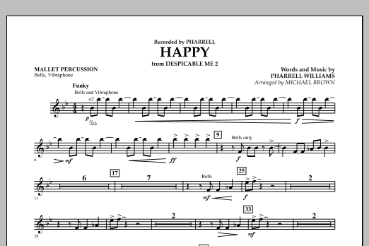 Happy (from Despicable Me 2) (arr. Michael Brown) - Mallet Percussion (Concert Band)