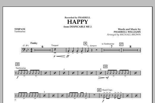 Happy (from Despicable Me 2) (arr. Michael Brown) - Timpani (Concert Band)